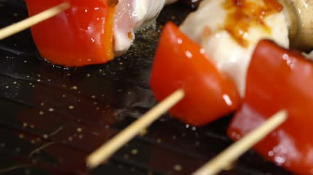 koekenpan : In a skillet with skewers pour oil. Slow motion