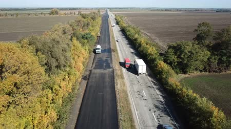 paving : Ukraine, Dnipro - October 11, 2018: Repair pavement on the highway