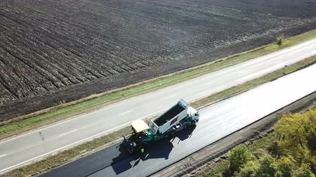 Ukraine, Dnipro - October 11, 2018: Repair pavement on the highway