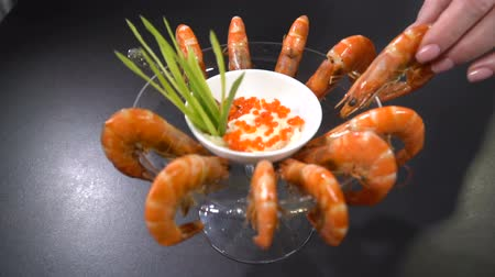 cuisine dark : Served dish boiled shrimp. Slow motion Stock Footage