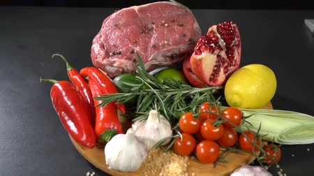 pırasa : Meat with vegetables and fruits. slow motion