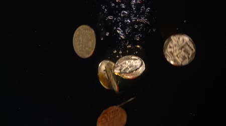 cent : Bitcoin falls into the water. Slow Motion