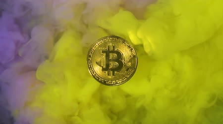 混合物 : Bitcoin with colorful paints. Slow Motion 動画素材