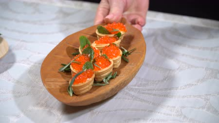 tartlet : Tartlets with caviar on the table Stock Footage
