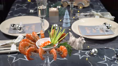 jikry : Christmas table with shrimps and champagne