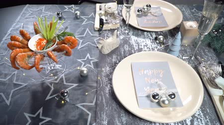 shellfish recipe : Christmas table with shrimps and champagne