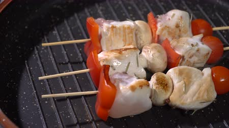 kabab : Chicken skewers fried in a pan Stock Footage