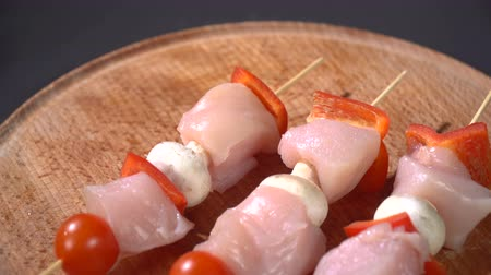 kabab : Chicken skewers on a cutting board Stock Footage