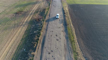 maruz : Pothole road. Aerial survey Stok Video