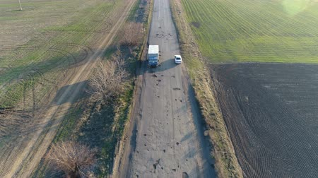 tarmac : Pothole road. Aerial survey Stock Footage