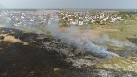 préri : Flying over the river with reeds. Fire reed on the river near the village. Aerial survey Stock mozgókép