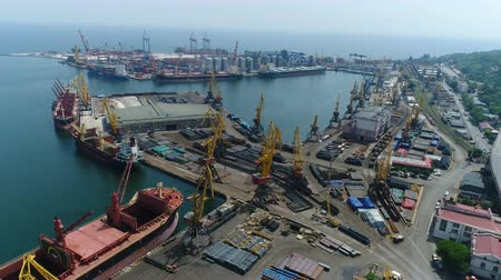 construction crane : Odessa Marine Trade Port. Aerial survey