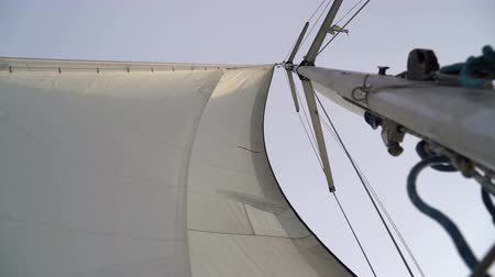 регата : Mast with a white sail on a yacht in the Black Sea