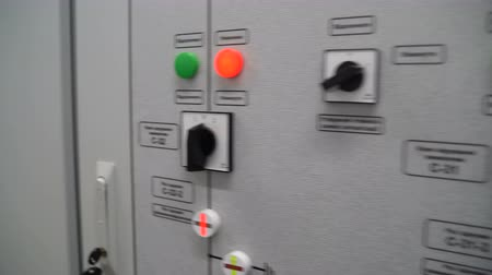 gomb : Dashboard with buttons and switches on a solar power station. Panel inscription: Enable, disable, C-31, C-32 switch control key, C-31-3, C-32-2 disconnector, disconnector On and Off