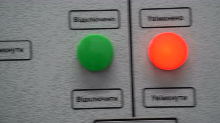 enable : Dashboard with buttons and switches on a solar power station. Panel caption: Enable, disable