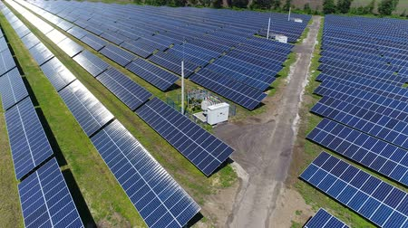 field survey : Flight over a large solar power station. Aerial survey Stock Footage