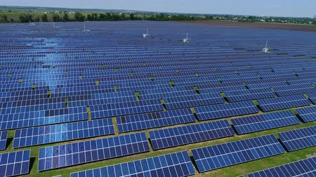 fotovoltaica : Flight over a solar power station. Aerial survey