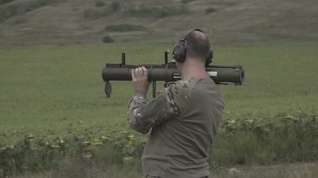 rocket launcher : Training with a grenade launcher at the firing range. Slow motion