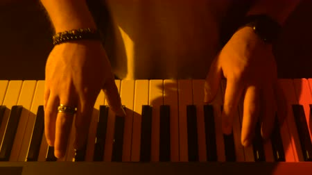 húr : The musician plays the keyboard. Close-up Stock mozgókép