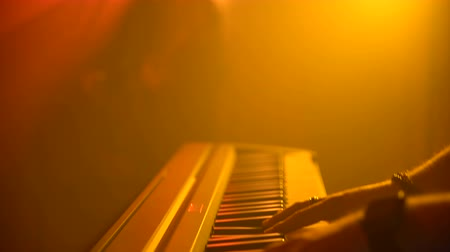 deceleration : The musician plays the keyboard. Close-up Stock Footage