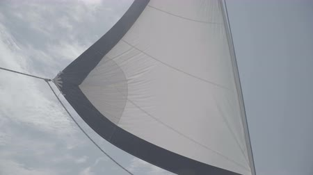 winch : White sail sways from the wind on a yacht. S-Log3 S-Gamut3 Cine