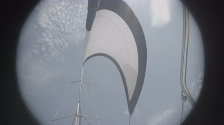 só : White sail sways from the wind on a yacht. S-Log3 S-Gamut3 Cine
