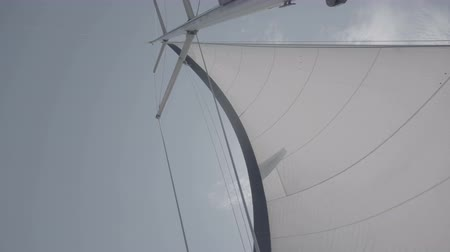 winch : White sail with a mast on a yacht. S-Log3 S-Gamut3 Cine