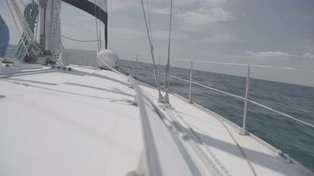 feed back : Yacht feed with railing and sheets in the Black Sea. S-Log3 S-Gamut3 Cine