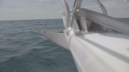 só : The nose of a yacht sailing in the Black Sea with an anchor. S-Log3 S-Gamut3 Cine