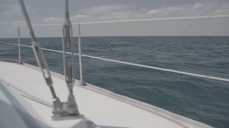 só : Yacht feed with railing and sheets in the Black Sea. S-Log3 S-Gamut3 Cine