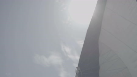 só : White sail sways from the wind on a yacht. S-Log3 S-Gamut3 Cine. Slow motion