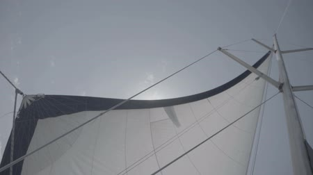 só : White sail with a mast on a yacht. S-Log3 S-Gamut3 Cine. Slow motion