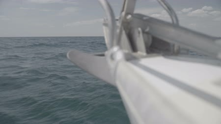 só : The nose of a yacht sailing in the Black Sea with an anchor. S-Log3 S-Gamut3 Cine. Slow motion