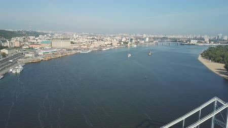 hochspannungsmast : Flying over the Dnieper River in the city of Kiev. Aerial survey Videos