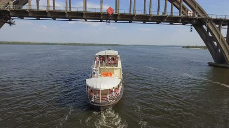 rivulet : Pleasure boat floats on the Dnieper River. Aerial survey