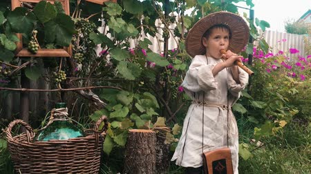 ón : Charming cute caucasian child in village clothes and hat having fun in village and playing on flute with vineyard on background
