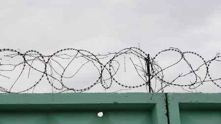 hapsedilme : Prison green fence with barbed wire. Close-up view of barbed wire in jail. Barbed wire fence