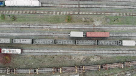 goederentrein : Aerial view of colorful freight trains on the railway station. Wagons with goods on railroad. Heavy industry.