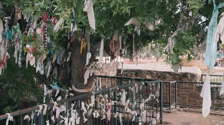 pohanský : Wish tree and fence with ribbons of different colors. Wish tree near ancient tomb. Religion ribbons on wish tree and fence.