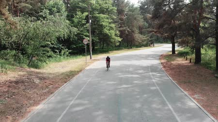 jarse : Attractive confident young cycling girl in sportswear is riding through the summer park. Aerial drone view