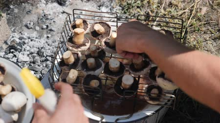 coals : Human cooking grilled vegetables. Chef preparing mushrooms on barbecue. Women spread vegetables on grill outdoor