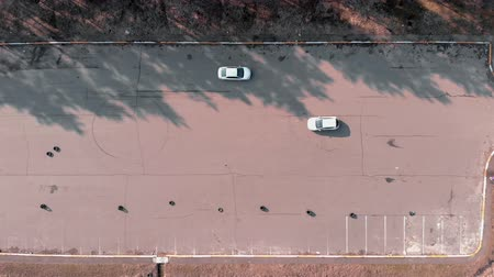 no traffic : Aerial drone top view of abandoned car parking. Car parks at parking lot