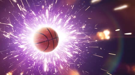 arquibancadas : Basketball with fire sparks in action