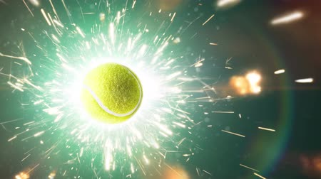 hurl : Tennis ball with fire sparks in action Stock Footage