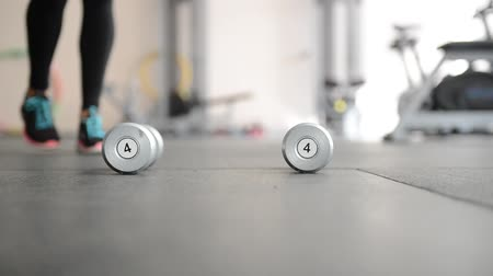 sombrio : iron dumbbells lie in a row at the gym