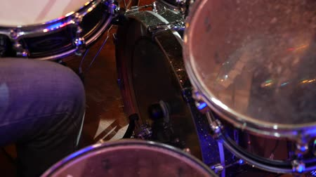 drumbeat : Bass drum pedal while playing the drum kit. Stock Footage