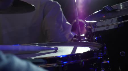 drumbeat : close-up musician playing on stage Slow motion Stock Footage