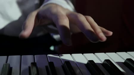 musician playing the electric piano closeup