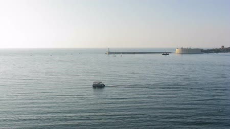 dalgakıran : time lapse filming beautiful view of the harbor at sunset accelerated shooting Sevastopol, Crimea