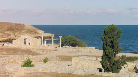 time lapse footage ruins of an ancient civilization historical and archaeological reserve Peninsula of the Chersonese, Crimea, Ukraine